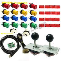 Classic Arcade Game 2 players USB controller 8 Way Classic Arcade Joystick led transparent illuminated Push Button DIY kits