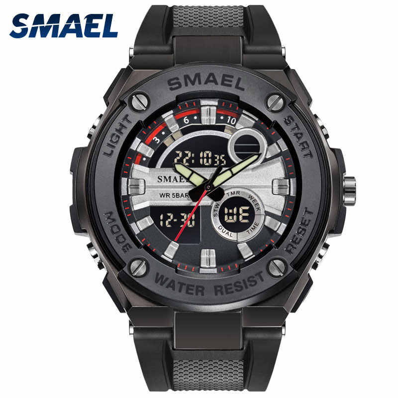 SMAEL Gold Black Men's Fashion Digital Quartz Watch Military Fine Dial Dual Display Led Life Waterproof Wrist Watches 1625