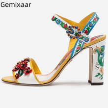 Flower Sandals Shoes Women One Strap Slim Shallow Chunky Squ