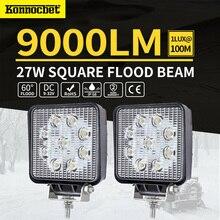 Square 27w Led Light Bar 4 Inch Led Work Light Flood Driving Lamp For Car Truck Trailer Suv Uaz Atv Offroads Boat 12v 24v 4wd стоимость