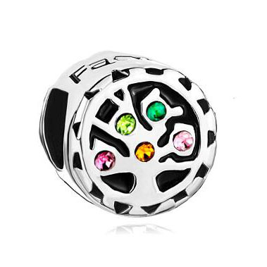 Fit Pandora charm bracelets Colorful Swarovski Crystal Tree Of Life Family Beads Charm Bracelets beads for jewelry making