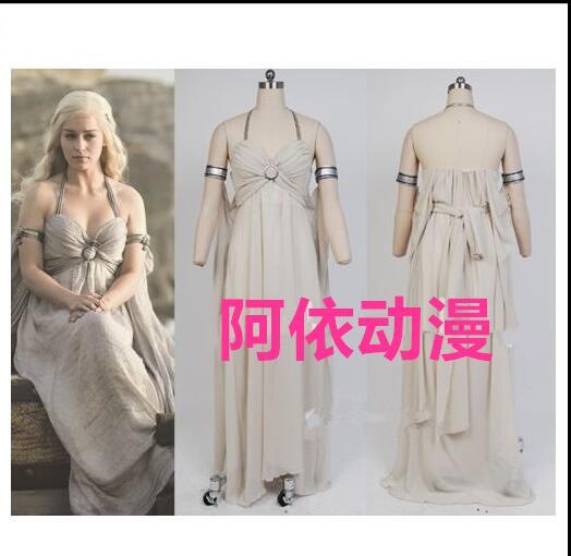 Nouveauté Costume d'halloween Daenerys Targaryen une chanson de glace et de feu jeu de trônes Costume Daenerys Targaryen