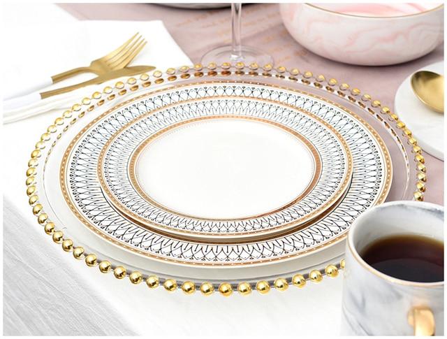 HTB16TDPLb2pK1RjSZFsq6yNlXXaG.jpg 640x640 - dinnerware - Nordic Gold Bead Glass  Wedding Plates