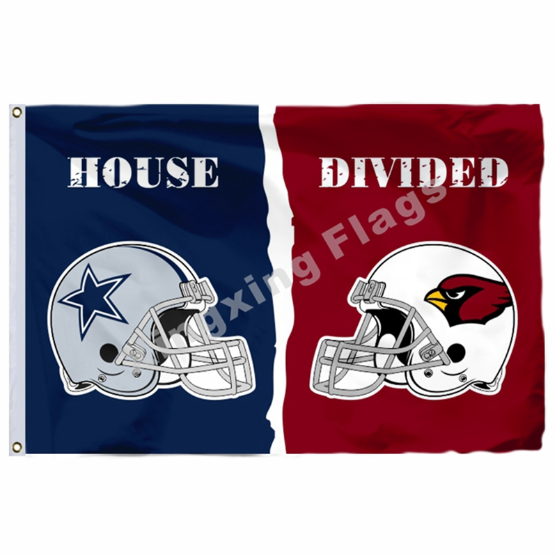 Dallas Cowboys Arizona Cardinals Helmet Divided Flag 3ft x 5ft Polyester NFL Banner Size No.4 144*96cm Custom flag