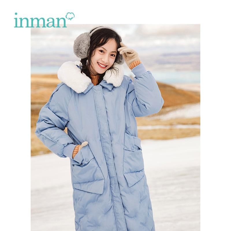 INMAN Winter H Shape Fur Collar Loose Style Women Embroidery Women Fashion Warm Long   Down   Outerwear   Coat