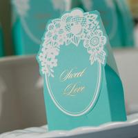 50 Pcs Pack Free Shipping Sky Blue Boxes Wedding Party Favor Candy Boxes Paper Boxes Party
