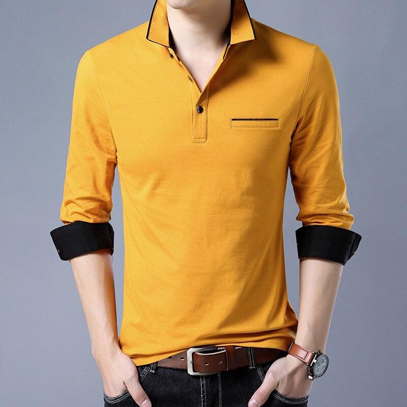 High quality New Fashion Men Polo Shirt Solid Color Slim Fit Polo Men Long Sleeve Mercerized Cotton Casual Polos Shirt Mens 3XL