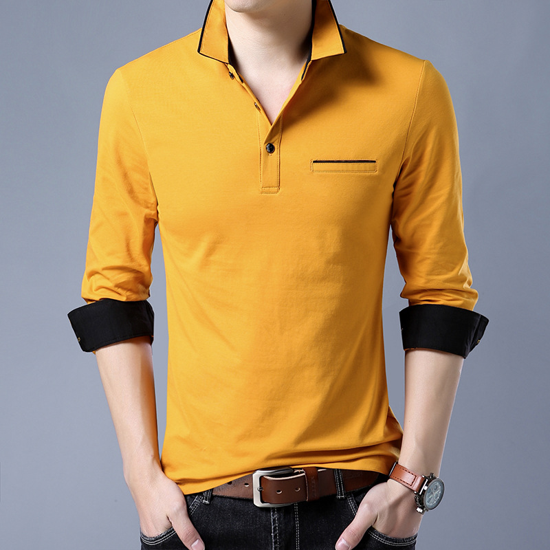 High quality New Fashion Men   Polo   Shirt Solid Color Slim Fit   Polo   Men Long Sleeve Mercerized Cotton Casual   Polos   Shirt Mens 3XL