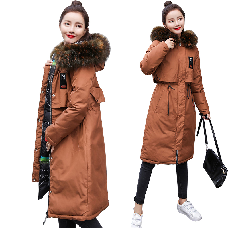 Two Side Wear Outerwear Winter Jacket Woman Big Fur Hooded Military Parka Long Coats High-quality Thick Warm Down Cotton Parkas snow wear 2017 high quality winter women jacket cotton coats fur collar hooded parkas fashion long thick femme outwear cm1346