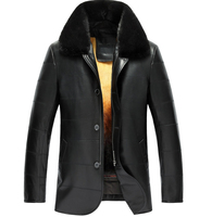Men's Golden Mink Fur Lined Lambskin Coat Luxe Genuine Fur coat for men Enhance Your Protection From Wind And Cold TJ12