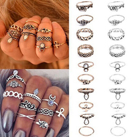 10Pcs Women's Punk Vintage Hollow Flower Jewelry Midi Knuckle Rings Set