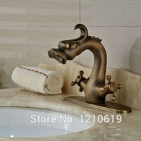 Newly Antique Brass Bathroom Sink Faucet w/ Deck Cover Plate Dragon Style Basin Mixer Tap Dual Handles
