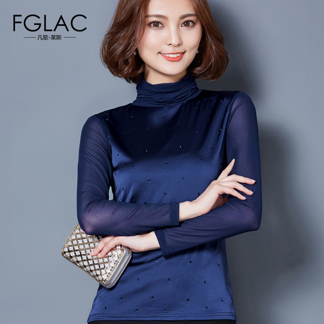 Diamantes mulheres camisas t shirt mulheres Novo Outono de manga comprida de Gola Alta Moda Elegante blusas Femininas plus size mulheres tops