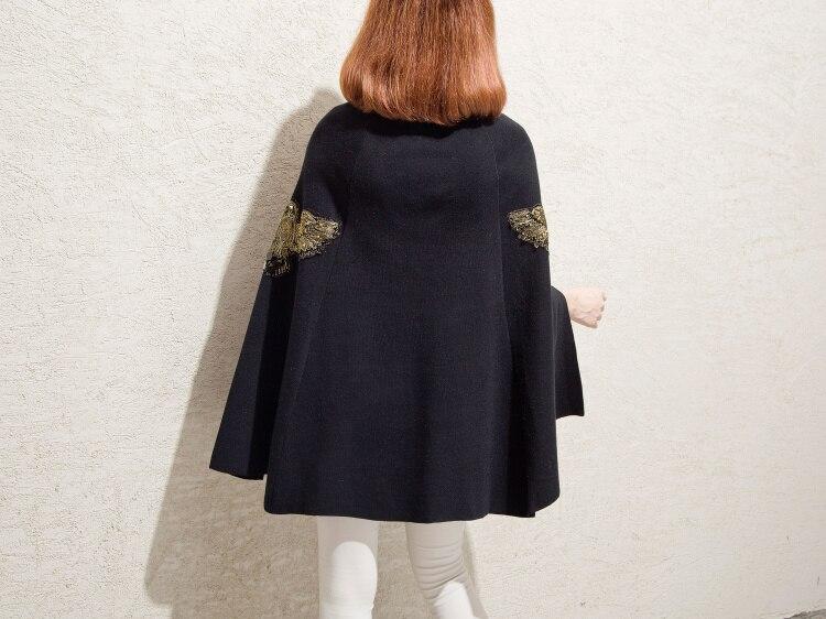 SMTHMA на осень-зиму взлетно-посадочной полосы черный, серый цвет вышитые бисером пончо и накидки-пуловеры для женщин вязаный шерстяной свитер