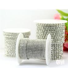5 ярдов/сумка супер яркий шифрование прозрачный кристалл SS6-SS16(2 мм-4 мм) серебряные Стразы цепи, diy аксессуары для одежды