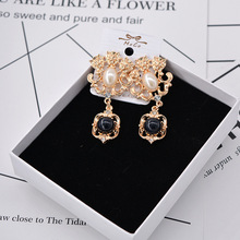 baroque retro women temperament  court earrings drop precious lion head pearl pendant indian jewelry