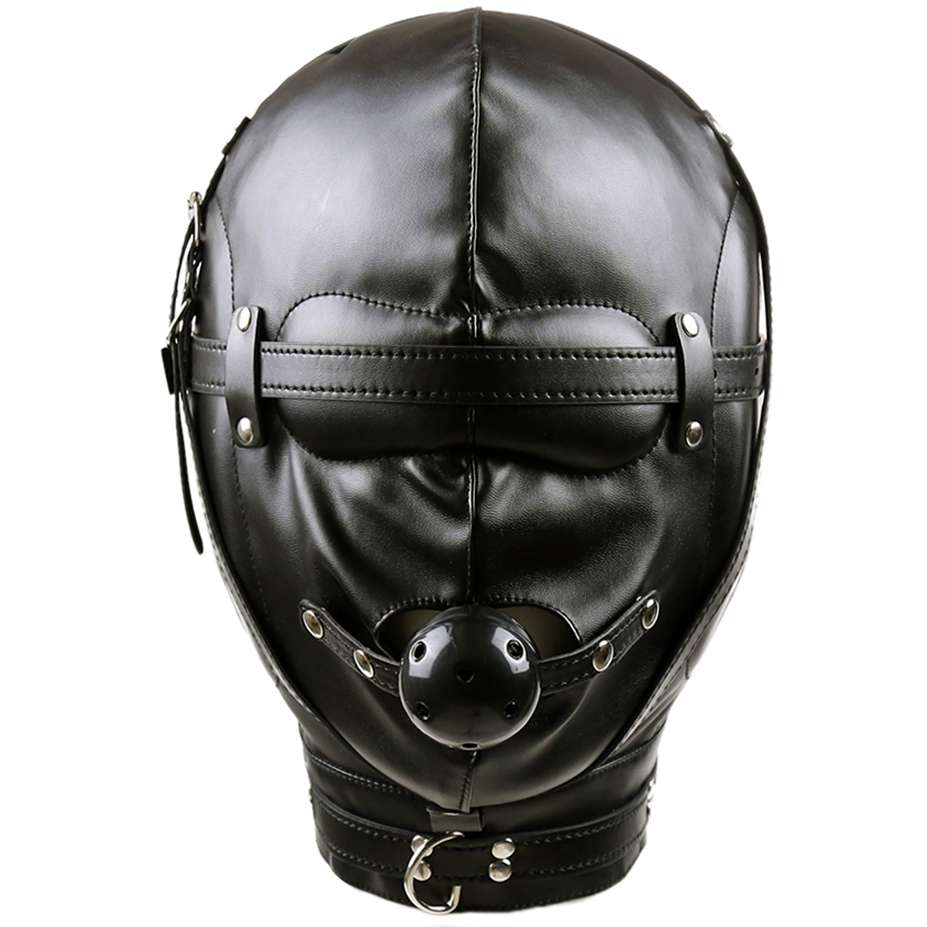 Leather fetish head bondage headgear mouth gag harness hood mask restraint adult SM sex <font><b>slave</b></font> game toy for women men gay couple image