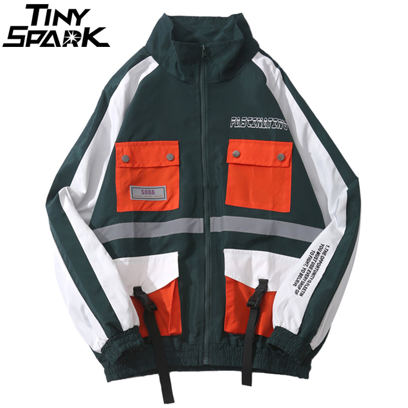 Hip Hop Jacket Windbreaker Multi Pockets Men Harajuku Jackets Streetwear Color Block Track Jackets Coat Swag Ribbon Autumn 2018