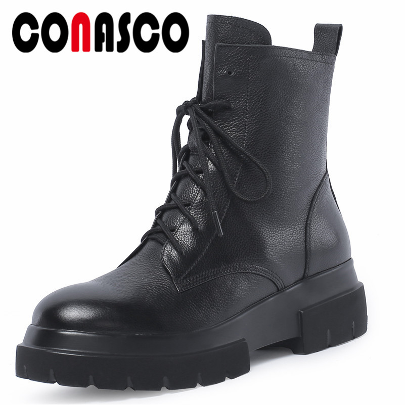 CONASCO Brand 2019 Women Soft Genuine Leather Ankle Boots Corss-tied Martin Shoes Woman Platforms Punk Motorcycle Boots CONASCO Brand 2019 Women Soft Genuine Leather Ankle Boots Corss-tied Martin Shoes Woman Platforms Punk Motorcycle Boots