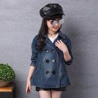 De alta calidad primavera otoño denim chaqueta de abrigo para las niñas de 12 años 4-14 fresco estilo niños otoño ropa outwear cruzado