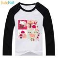 Jiuhehall Retail 2 - 6T Boy Girl Patchwork T-Shirts Raglan Long Sleeve Tops For Kids Full Cotton Children Active Clothing DCM104