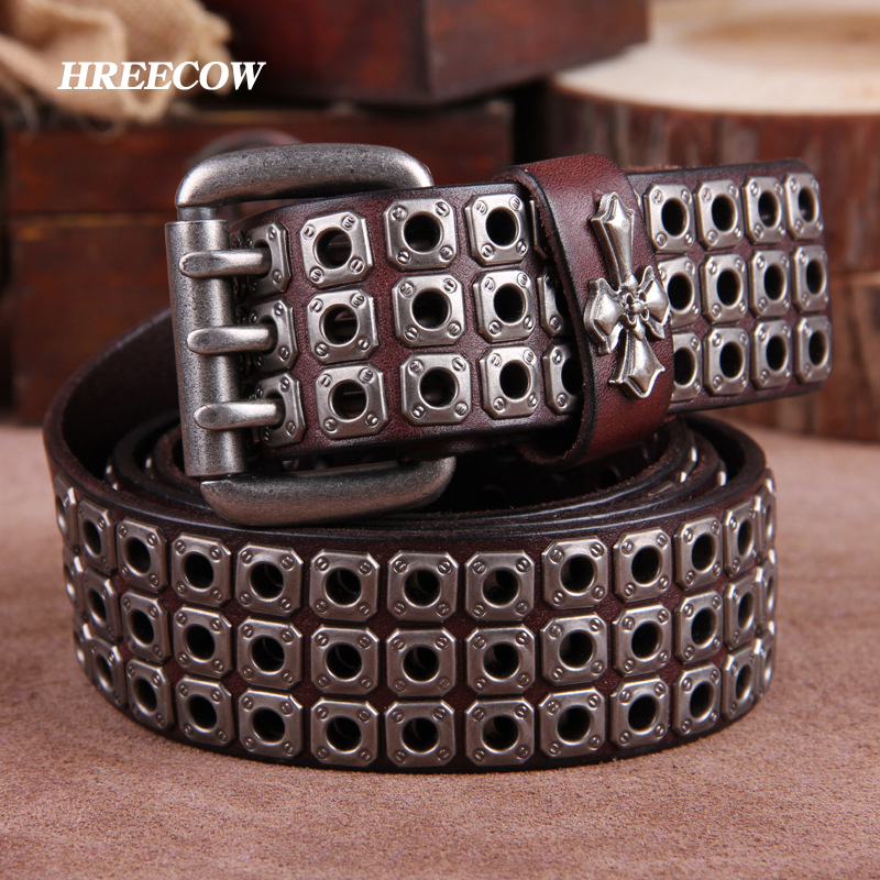 Genuine Leather Vintage Metal Punk Men