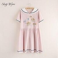 Shugo Wynne Mori Dziewczyna Sukienki 2017 Lato Nowych Kobiet Słodkie Sailor Collar Kwiaty Haft Krótkim Rękawem Różowy Granatowy Cienki dress