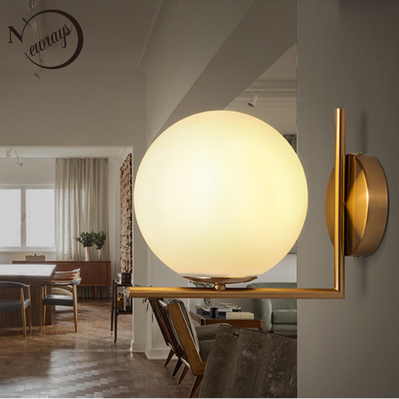 Modern simple wall light loft deco glass ball shaped wall lamp with 2 styles LED E27 for home living room bedroom aisle bathroom fashion deer bell head band christmas decorations