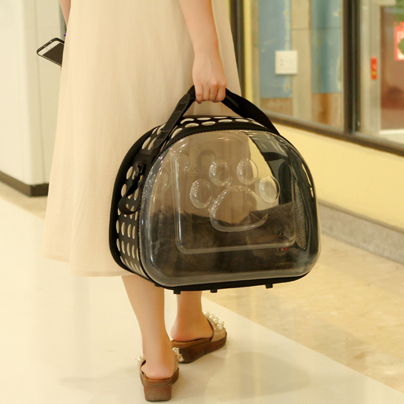 Foldable Clear Transparent Pet Puppy Dog Cat Carrier Outdoor Travel Bag