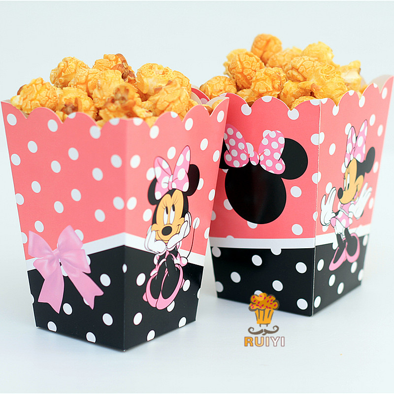6pcs/lot Minnie Mouse Kids Party Supplies Popcorn Box case Gift Box Favor Accessory Birthday Party Supplies AW-0555 ...