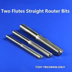 1pc 3.175mm SHK z dwoma rowkami proste narzędzia do rzeźbienia podwójne flety frezy cnc proste frezy grawerskie w Frez od Narzędzia na
