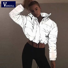 Vangull Flash reflecterende vrouwen gewatteerde jas warme Parka Nieuwe herfst winter solid rits oversized losse uitloper casual jassen(China)