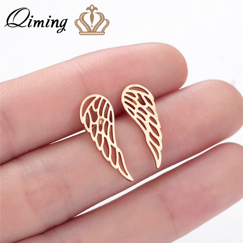 QIMING Ear Climber Wings Stud Earrings Women Hollow Fashion Minimal Ear Climbers Stainless Steel Minimalist Earrings Jewelry