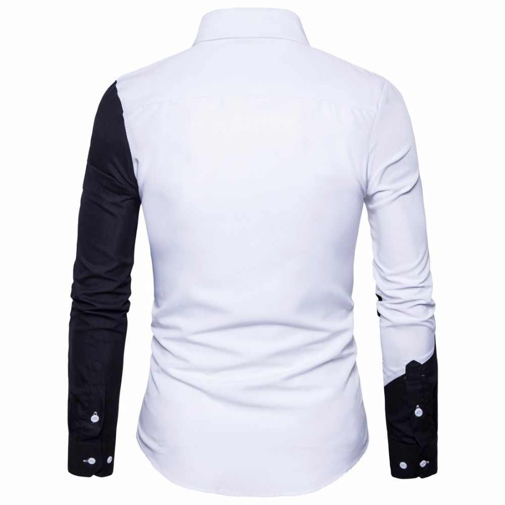 Новые мужские хлопок черный белый шить Цвет повседневные тонкие рубашки Fit Модные мужские нагрудные большой Размеры Футболки с рукавами мужской S-2XL