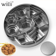 24pcs Set Stainless Steel Geometric Shape 3D Cookie Cutter DIY Fondant Decorating Molds Mousse Cake Moulds Kitchen Baking Tools 14pcs set stainless steel dumplings wrappers cutter maker tools cake moulds mousse ring round stainless steel cookie molds set