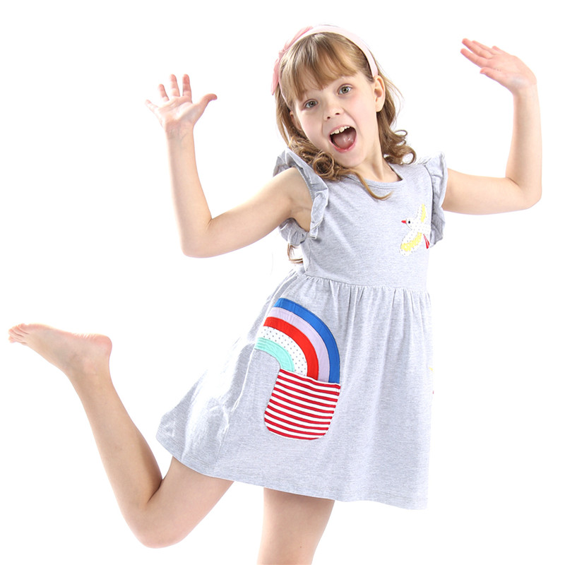 Little Bitty baby girls new designed 3-12T summer dresses kids top quality cartoon dress with applique rain bow hot selling 2018 hot selling baby girls cartoon dresses with printed some dinosaurs kids new designed autumn clothing top quality girls dresses