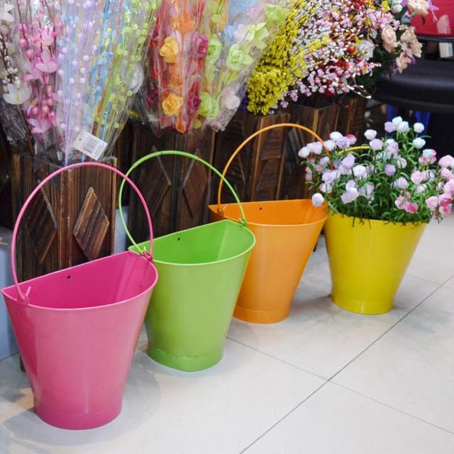 Conhecido Parede pátio terraço jardim vasos de flores de metal flor balde de  GL72