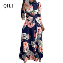 QILI Boho Women Dress Long Sleeve O-neck Floral Print Loose Dresses Autumn Womens Casual Party Long Maxi Dress With Belted eyes print belted dress