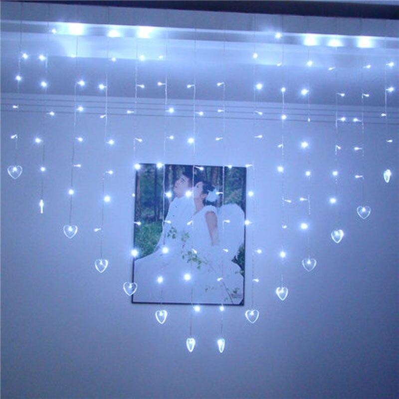 2x1,6 mt Weihnachtslichterkette 34 Herzen LED Lichterketten Vorhang ...