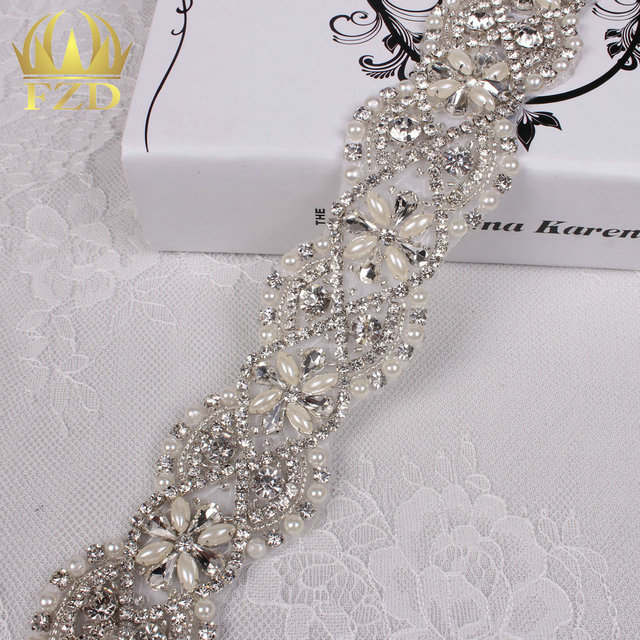 (10yards) Wholesale 1 Yard Beaded Crystal Bridal Sliver Rhinestone Applique  Trim Iron On Rhinestone 401d152ca28f