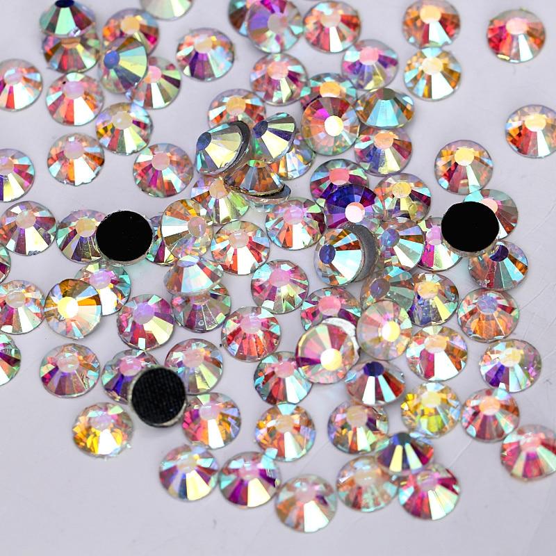 SS4-SS40 Crystal AB Glass DMC Hot Fix Rhinestones Flatback Crystal Hotfix Rhinestones Iron On Stones For Wedding Dress B0261