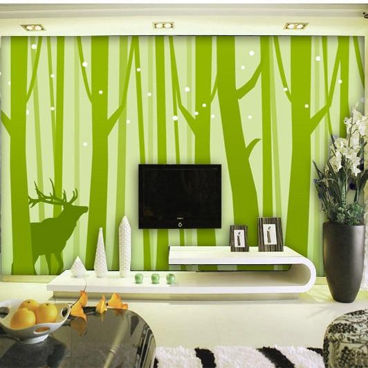 Modern singkat 3d kertas dinding pribadi mode hijau stripe