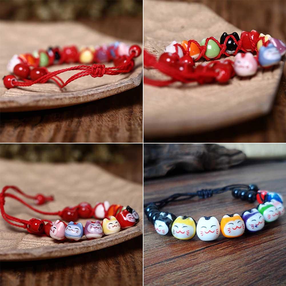 New arrive 1 piece Handmade Cute Ceramic Lucky Cat Charm Beaded Bracelet Fortune Wish Men Women Bracelet