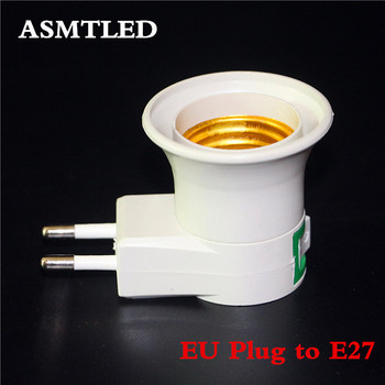 ASMTLED 1 sztuk darmowa wysyłka E27 adapter wtyczki EU z przełącznikiem zasilania on-off E27 gniazdo lampy podstawa lampy gniazdo tanie i dobre opinie HEGUOGUO CN (pochodzenie) EU Plug to E27 2Years Podstawy lampy