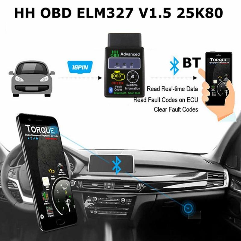 Лучший чип PIC18F25K80 Расширенный HH OBD ELM327 Bluetooth V1.5 OBD2 сканер ELM 327 1,5 для Android/ПК OBDII Автомобильный диагностический инструмент