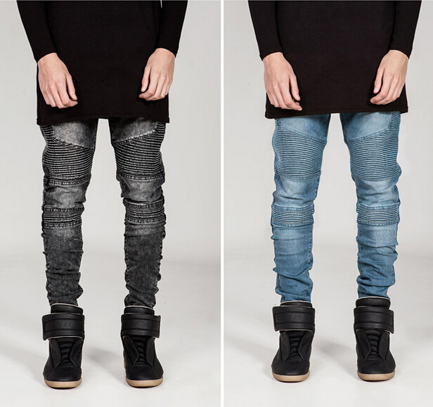 2016 Men Fashion skinny Skinny Jeans Men Runway Elastic Jeans Denim Biker Jeans Hip Hop Pants Acid Washed Jeans mens skinny jeans men runway distressed slim elastic jeans denim biker jeans hip hop pants washed pleated jeans blue