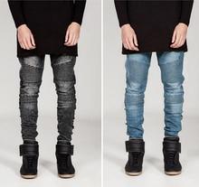2016 мужчин мода узкие джинсы мужчины взлетно-посадочной полосы эластичный джинсы байкер джинсы хип-хоп брюки промытых кислотой джинсы