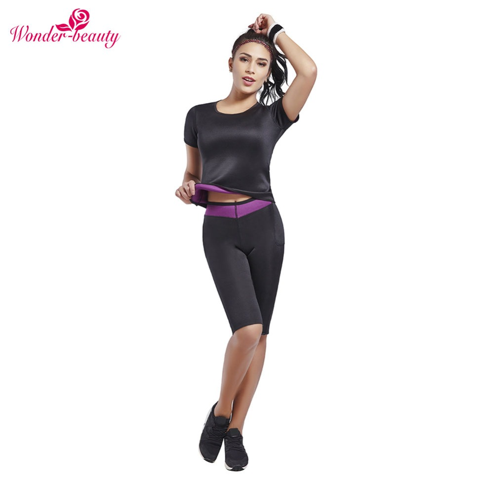 Wonder-Beauty Hot Sweat Slimming Neoprene Sauna Shirt Vest Body Shapers for Weight Loss Crop Top+Pants Plus Size 3XL-E