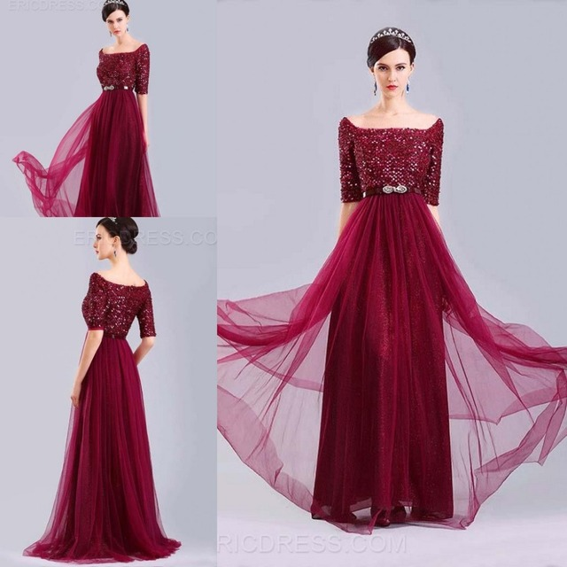 Hot Sale Dark Red Evening Dress Embellished With Heavy Sequined Half
