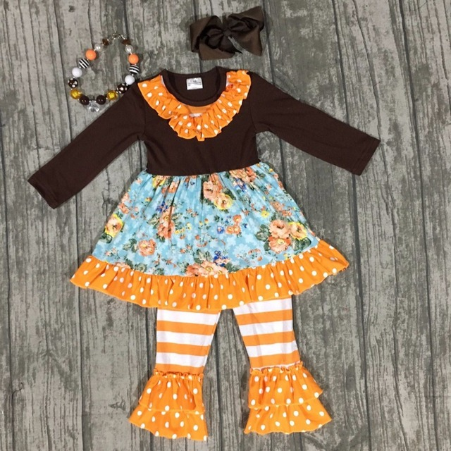 baby girls thanksgiving outfit kids Fall boutique clothes girls floral  clothing orange stripe ruffle pants with accessories 3b13a6417b74